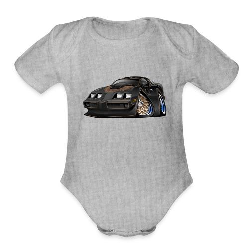 Classic American Black Muscle Car Cartoon - Organic Short Sleeve Baby Bodysuit