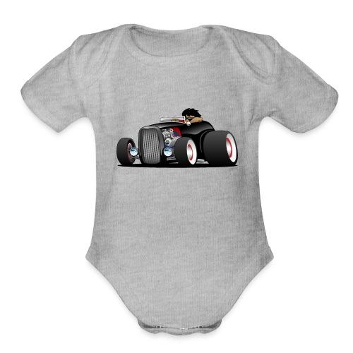 Classic Street Rod Hi Boy Roadster Cartoon - Organic Short Sleeve Baby Bodysuit