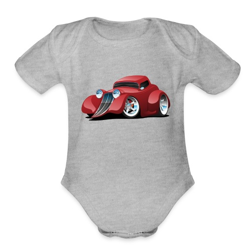 Red Hot Rod Restomod Custom Coupe Cartoon - Organic Short Sleeve Baby Bodysuit