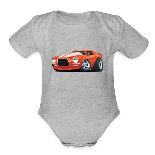 Classic Seventies Muscle Car Cartoon - Organic Short Sleeve Baby Bodysuit