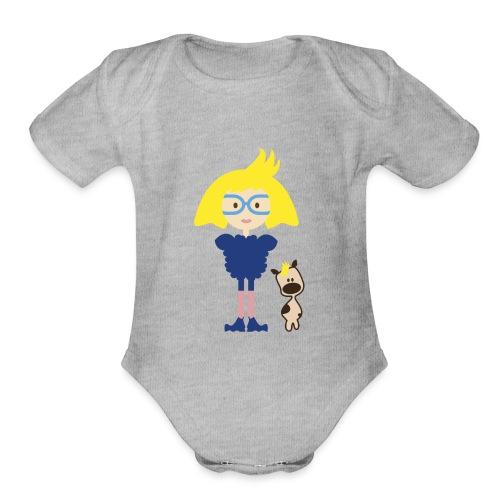 Blond Girl w/ Odd Fashion in Boots + Cute Dog - Organic Short Sleeve Baby Bodysuit