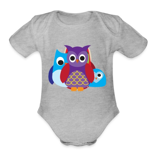 Cute Owls Eyes - Organic Short Sleeve Baby Bodysuit