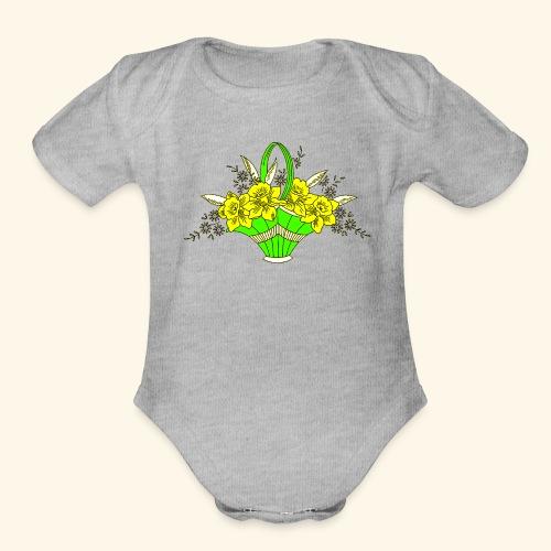 Daffodils Poster - Organic Short Sleeve Baby Bodysuit