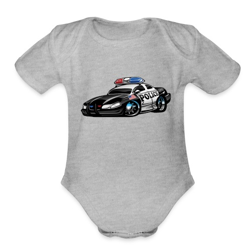 Police Muscle Car Cartoon - Organic Short Sleeve Baby Bodysuit