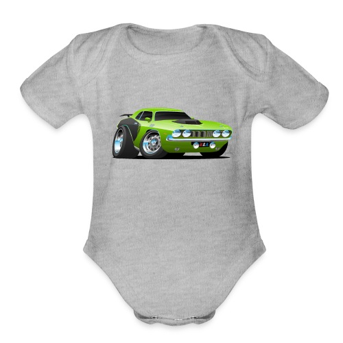 Classic Seventies American Muscle Car Cartoon - Organic Short Sleeve Baby Bodysuit