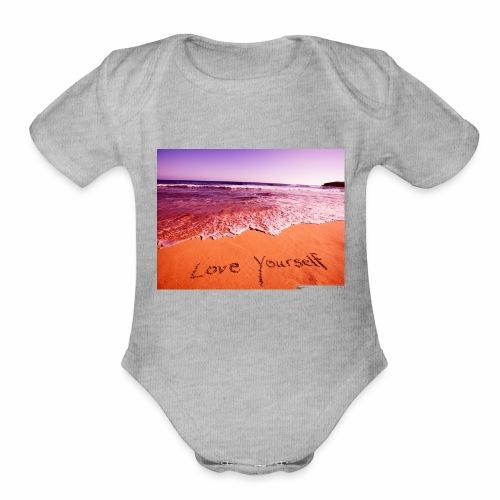 on beach love yourself wallpapers 1024x768 - Organic Short Sleeve Baby Bodysuit