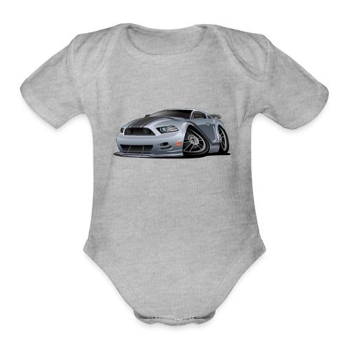 Modern American Muscle Car Cartoon Vector - Organic Short Sleeve Baby Bodysuit