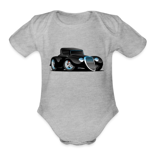 Black Hot Rod Classic Coupe Custom Car Cartoon - Organic Short Sleeve Baby Bodysuit