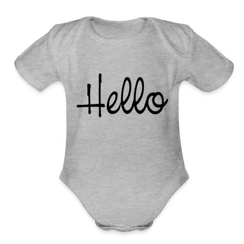 hello - Organic Short Sleeve Baby Bodysuit
