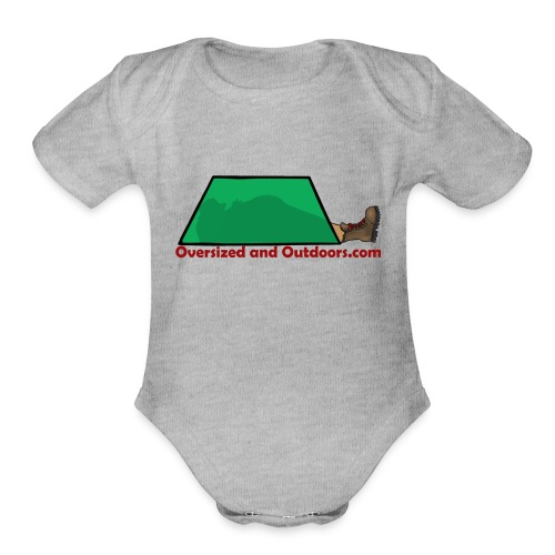 Oversized and Outdoors Logo - Organic Short Sleeve Baby Bodysuit