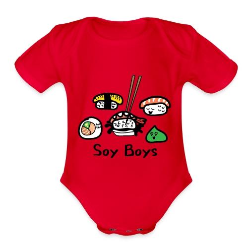 Soy Boys Kawaii Sushi - Anime / Manga Chibi Design - Organic Short Sleeve Baby Bodysuit