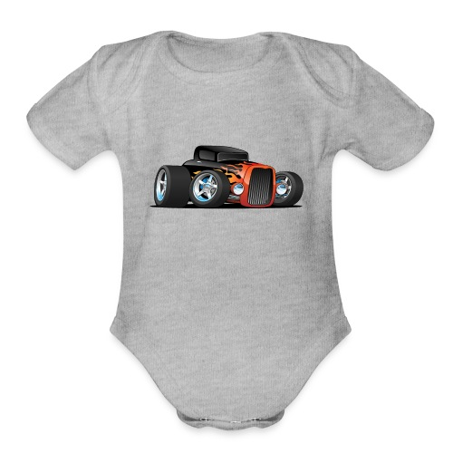 Hot Rod Classic Coupe Custom Car Cartoon - Organic Short Sleeve Baby Bodysuit