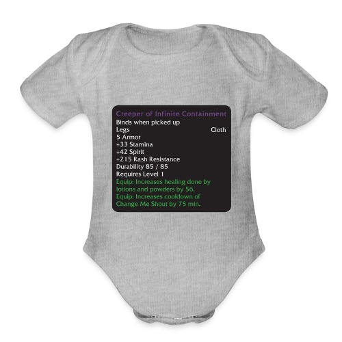 Warcraft Baby: Creeper of Infinite Containment - Organic Short Sleeve Baby Bodysuit