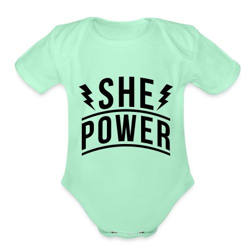 She Power - Organic Short Sleeve Baby Bodysuit