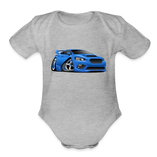 Modern Import Sports Car Cartoon Illustration - Organic Short Sleeve Baby Bodysuit
