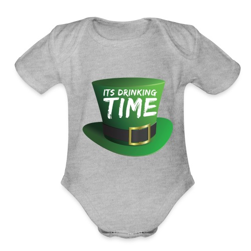 drinking time st patricks day - Organic Short Sleeve Baby Bodysuit