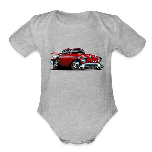 Classic American 57 Hot Rod Cartoon - Organic Short Sleeve Baby Bodysuit
