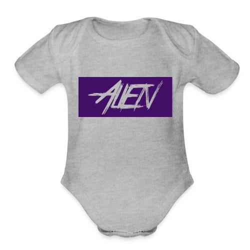 Alien-word-logo - Organic Short Sleeve Baby Bodysuit
