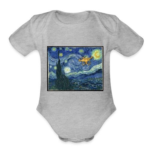 Starry Night Drone - Organic Short Sleeve Baby Bodysuit