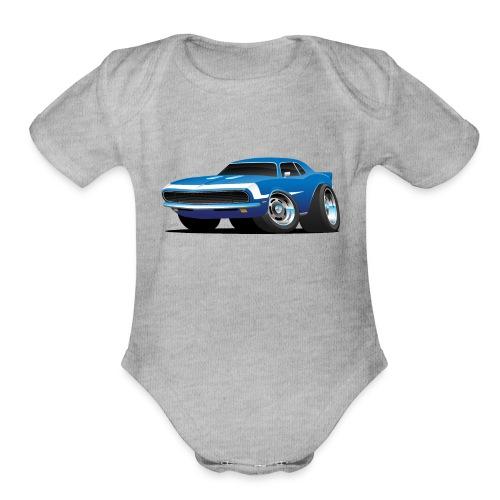 Classic Sixties Muscle Car Hot Rod Cartoon - Organic Short Sleeve Baby Bodysuit