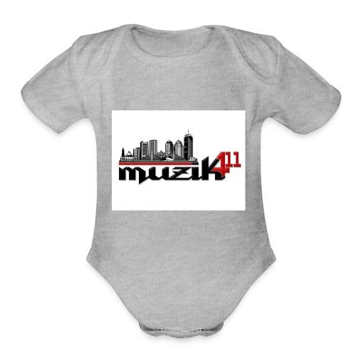 Muzik411 Logo - Organic Short Sleeve Baby Bodysuit