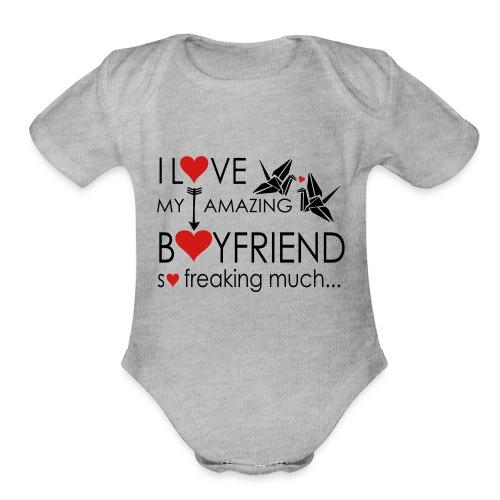love my amazing bf freaking much - Organic Short Sleeve Baby Bodysuit