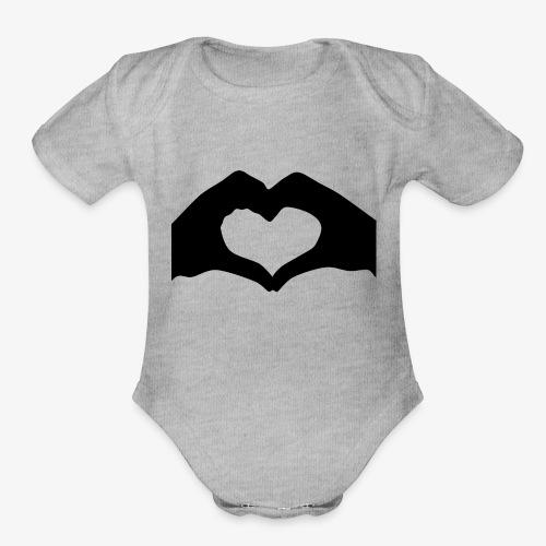 Silhouette Heart Hands | Mousepad - Organic Short Sleeve Baby Bodysuit