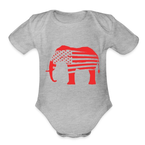 The Red Elephants Official Logo - Organic Short Sleeve Baby Bodysuit