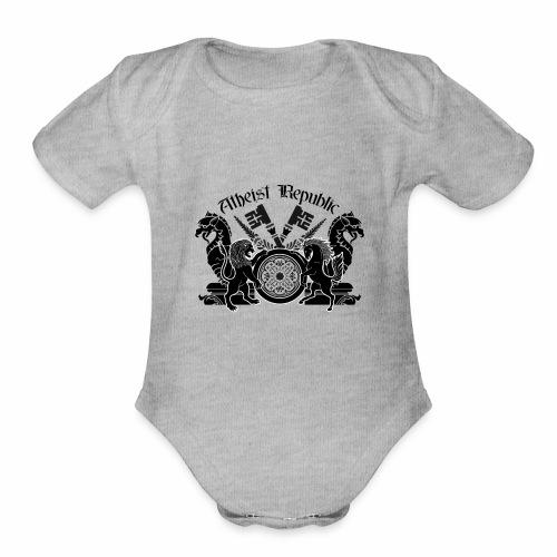 Atheist Republic Logo - Key Emblem - Organic Short Sleeve Baby Bodysuit
