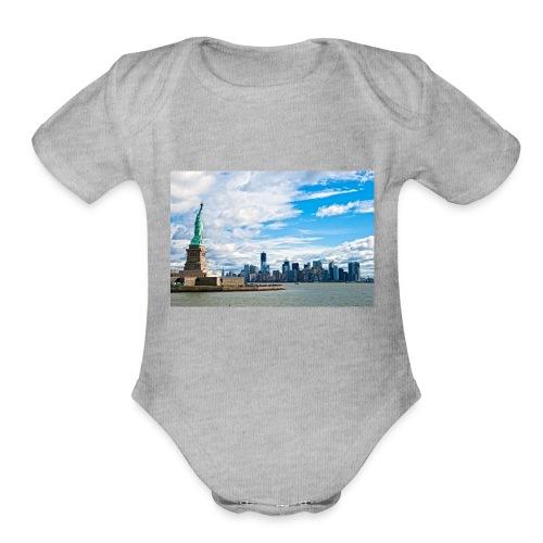 New York Skyline - Organic Short Sleeve Baby Bodysuit