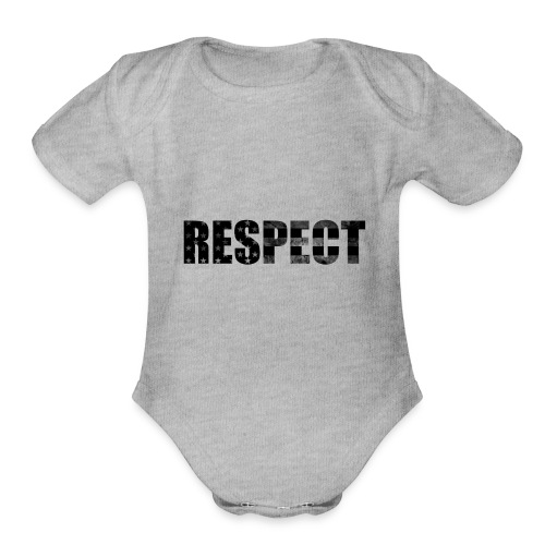 Respect Black and White flag - Organic Short Sleeve Baby Bodysuit