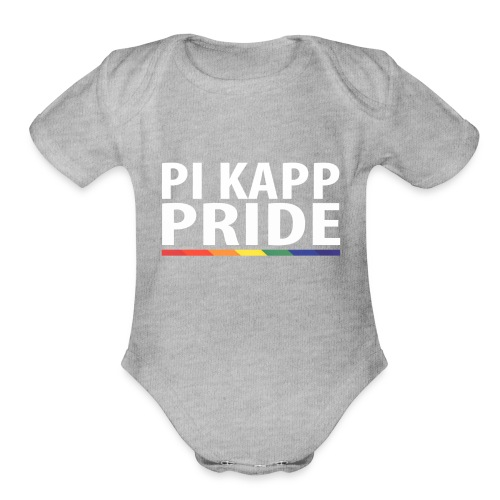 PKPride Stacked Design w Rainbow Stripe White Tex - Organic Short Sleeve Baby Bodysuit