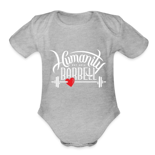 Humanity Barbell White w/Red Heart - Organic Short Sleeve Baby Bodysuit