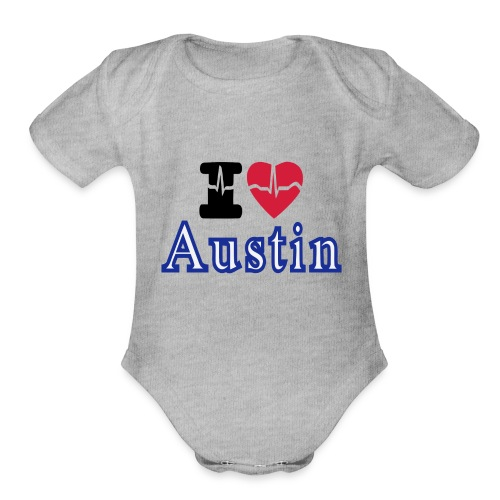 Love Austin Heart - Organic Short Sleeve Baby Bodysuit