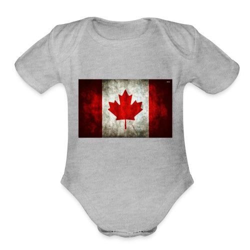 canada flag grunge - Organic Short Sleeve Baby Bodysuit