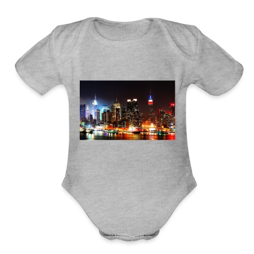 New York City Skyline at Night - Organic Short Sleeve Baby Bodysuit