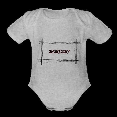 2hurt2cry barbwire - Organic Short Sleeve Baby Bodysuit