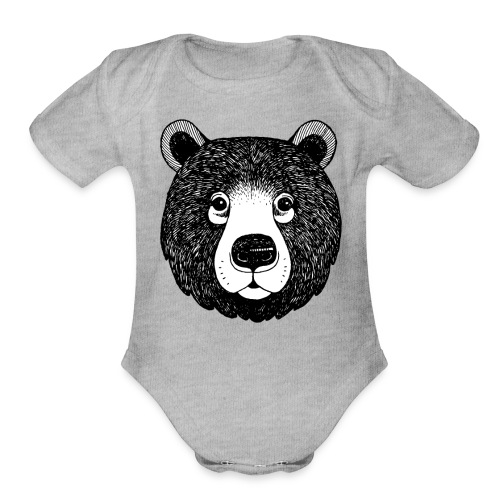 The head of bear - Organic Short Sleeve Baby Bodysuit