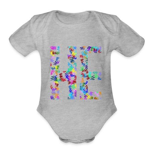 He/Him/His Pattern He - Organic Short Sleeve Baby Bodysuit