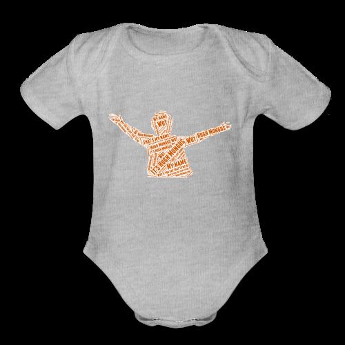 Hugh Mungus Wordcloud - Organic Short Sleeve Baby Bodysuit