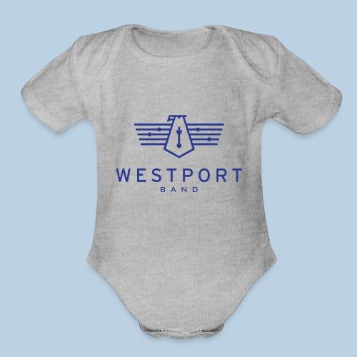 Westport Band Blue on transparent - Organic Short Sleeve Baby Bodysuit