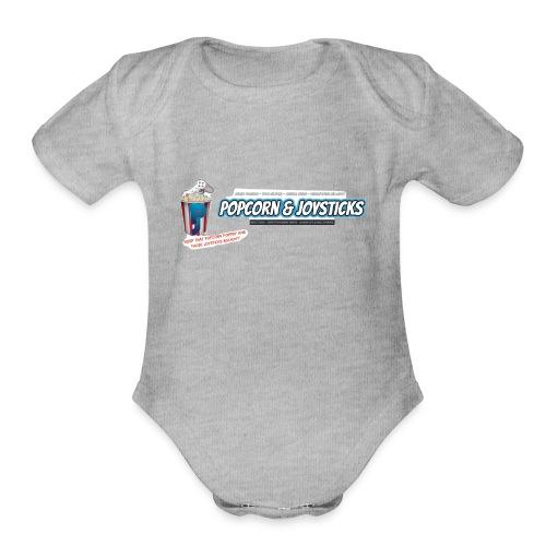 Popcorn and Joysticks Banner - Organic Short Sleeve Baby Bodysuit
