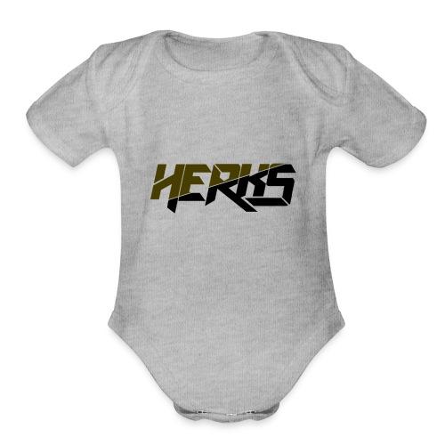 HerKs Military Text - Organic Short Sleeve Baby Bodysuit