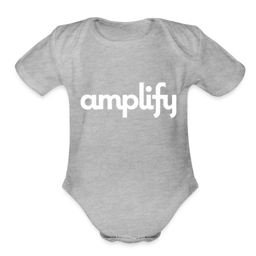 amplify logo// white - Organic Short Sleeve Baby Bodysuit