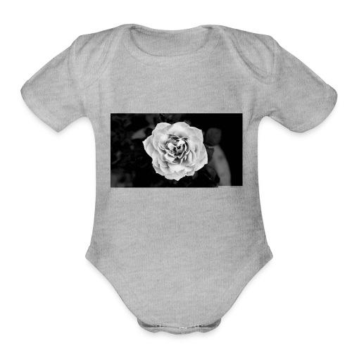 White Rose - Organic Short Sleeve Baby Bodysuit