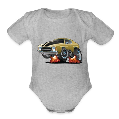 Classic American Seventies Muscle Car Cartoon - Organic Short Sleeve Baby Bodysuit