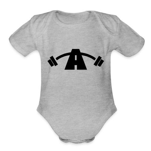 Alpha Logo Black - Organic Short Sleeve Baby Bodysuit