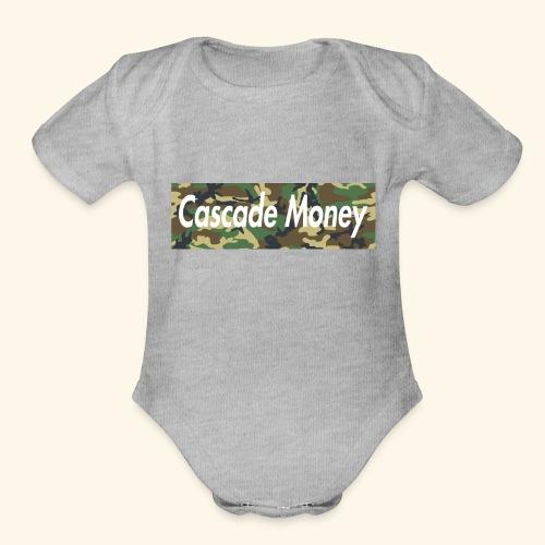 Cascade money camo - Organic Short Sleeve Baby Bodysuit