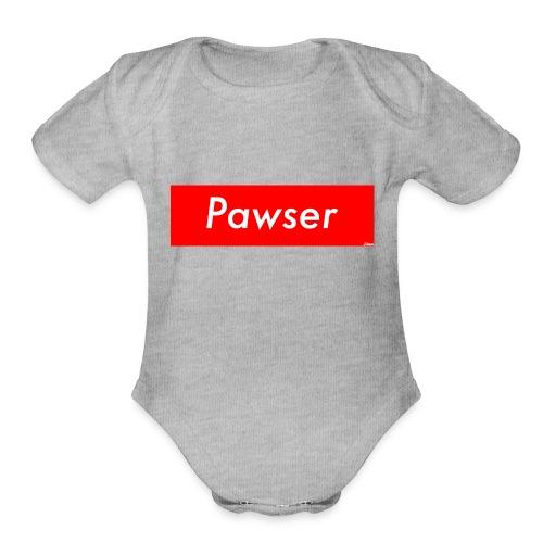 Pawser Logo SUPREME Style - Organic Short Sleeve Baby Bodysuit