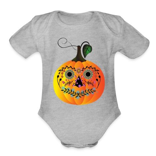 Sugar Skull Pumpkin - Organic Short Sleeve Baby Bodysuit